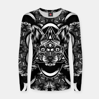 Thumbnail image of Sphynx pattern bw Woman cotton sweater, Live Heroes