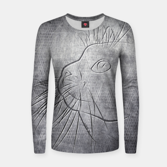 Line Art Cat Metallic Frauen baumwoll sweatshirt thumbnail image