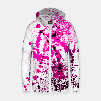 Thumbnail image of Magenta Madness - Abstract Splatter Art Zip up hoodie, Live Heroes