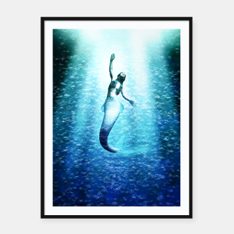 Thumbnail image of Bubbles (Mermaid under Water) Plakat mit rahmen, Live Heroes