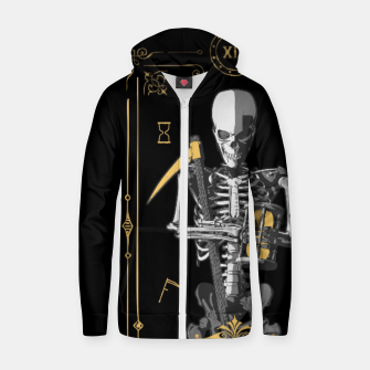 Thumbnail image of Death XIII Tarot Card Cotton zip up hoodie, Live Heroes