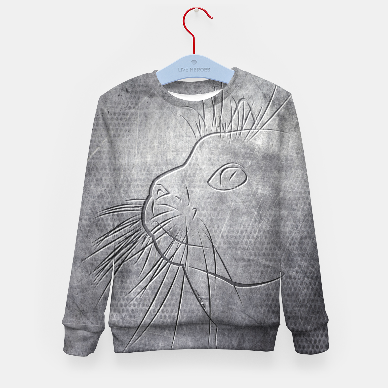 Image of Line Art Cat Metallic Kindersweatshirt - Live Heroes