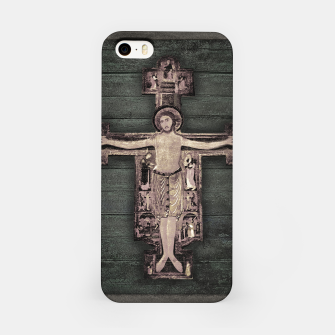 Thumbnail image of Medieval Style Jesus Christ on Cross Sculpture Artwork iPhone Case, Live Heroes