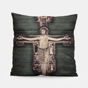 Thumbnail image of Medieval Style Jesus Christ on Cross Sculpture Artwork Pillow, Live Heroes