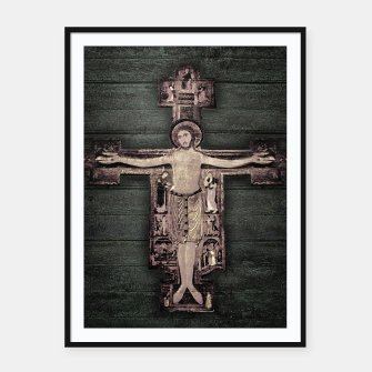 Thumbnail image of Medieval Style Jesus Christ on Cross Sculpture Artwork Framed poster, Live Heroes