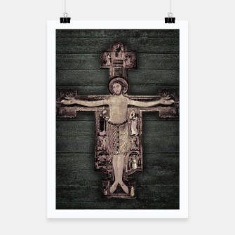 Thumbnail image of Medieval Style Jesus Christ on Cross Sculpture Artwork Poster, Live Heroes