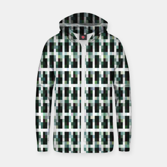 Thumbnail image of Khaki pixelated pattern Cotton zip up hoodie, Live Heroes