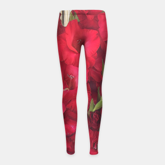Imagen en miniatura de Red Gladiolas on Rustic White Girl's leggings, Live Heroes