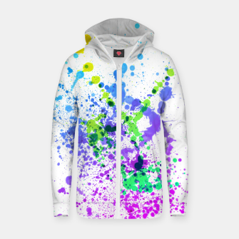 Thumbnail image of Multicolor Madness - Abstract Splatter Art Zip up hoodie, Live Heroes