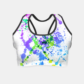 Thumbnail image of Multicolor Madness - Abstract Splatter Art Crop Top, Live Heroes