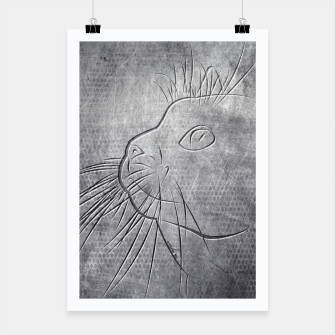 Line Art Cat Metallic Plakat thumbnail image