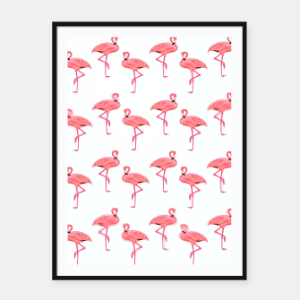 Classic Pink Flamingo Pattern Framed poster thumbnail image
