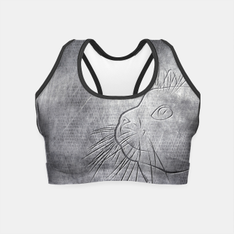 Imagen en miniatura de Line Art Cat Metallic Crop Top, Live Heroes