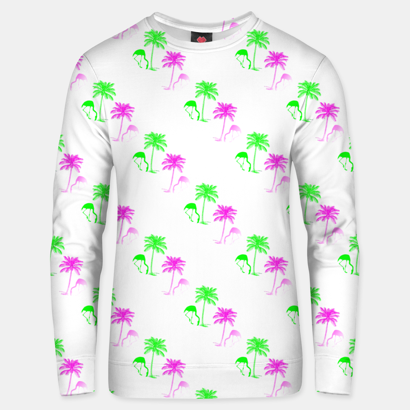 Image of Flamingo Christmas Pattern Palm Trees Unisex sweater - Live Heroes