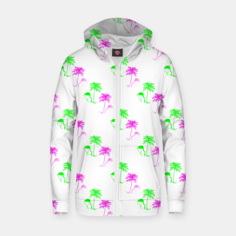 Thumbnail image of Flamingo Christmas Pattern Palm Trees Zip up hoodie, Live Heroes