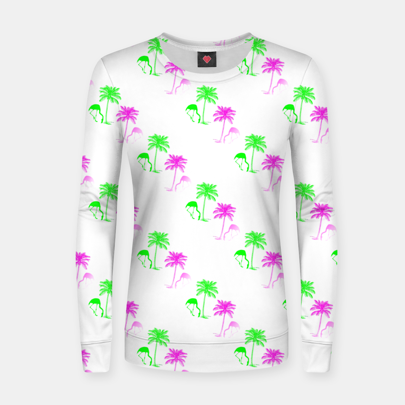 Image of Flamingo Christmas Pattern Palm Trees Women sweater - Live Heroes