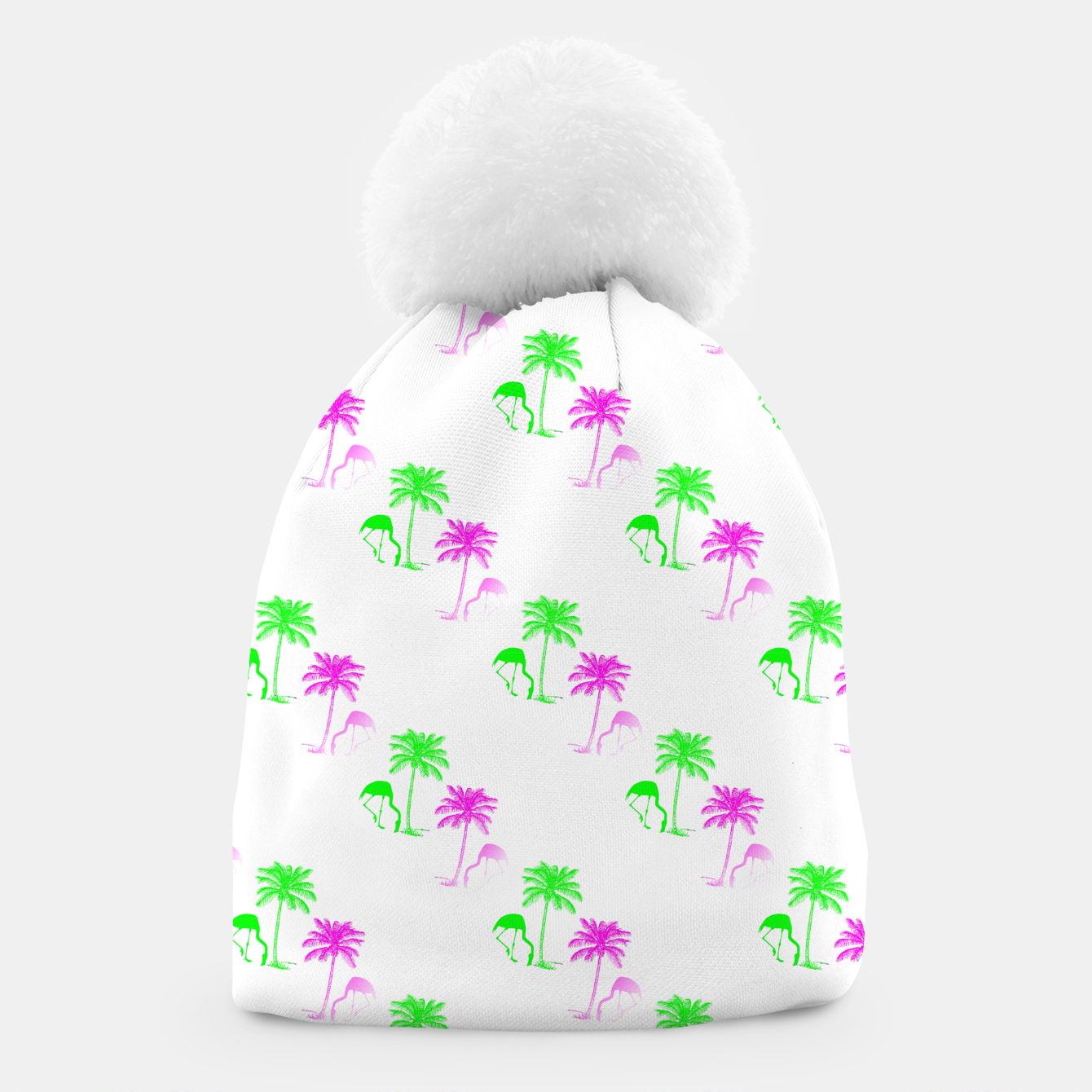 Image of Flamingo Christmas Pattern Palm Trees Beanie - Live Heroes