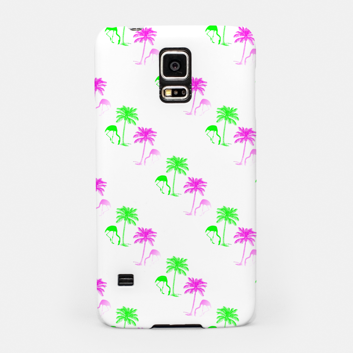 Image of Flamingo Christmas Pattern Palm Trees Samsung Case - Live Heroes