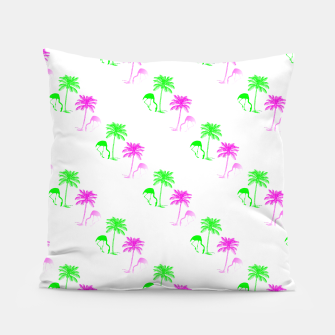 Thumbnail image of Flamingo Christmas Pattern Palm Trees Pillow, Live Heroes