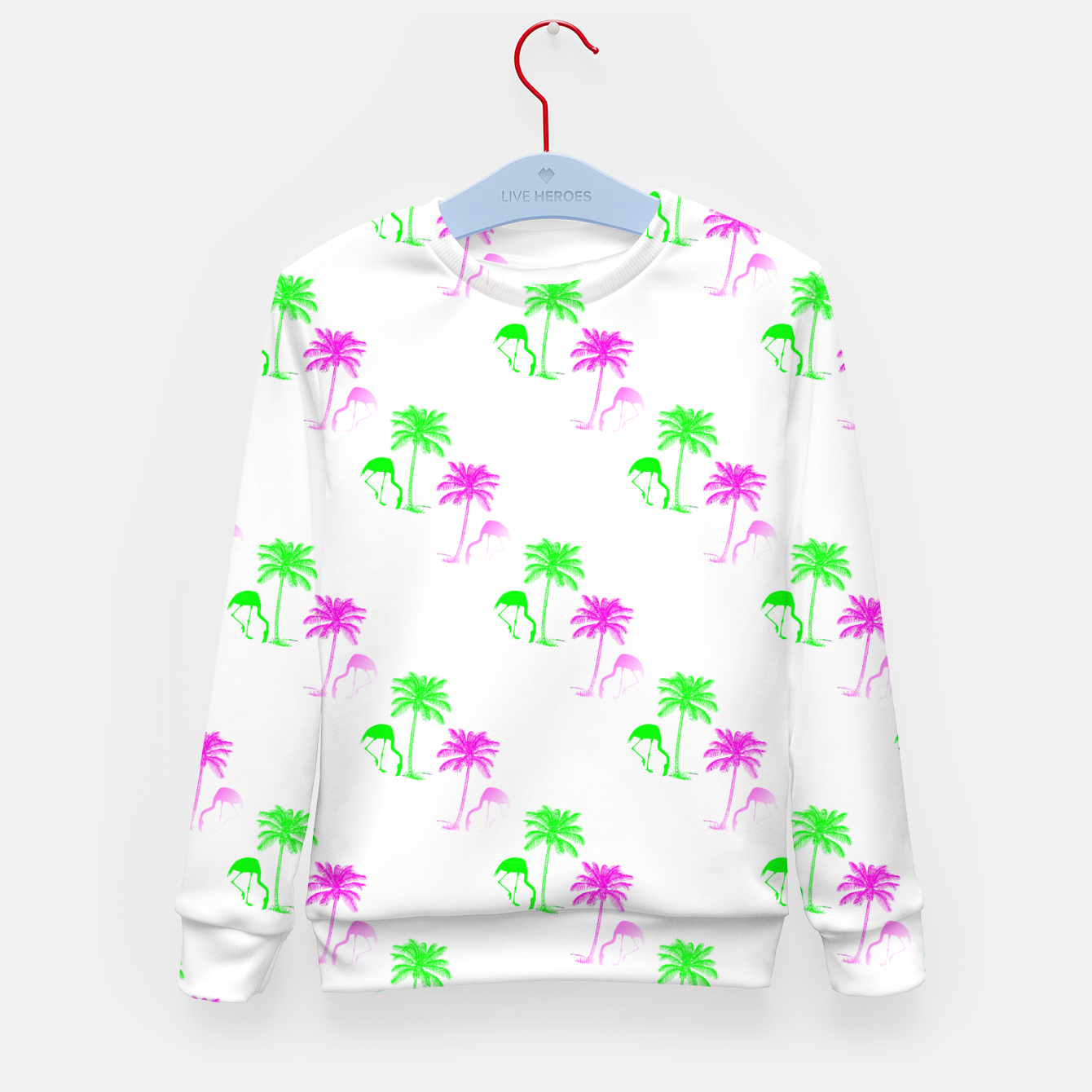 Image of Flamingo Christmas Pattern Palm Trees Kid's sweater - Live Heroes