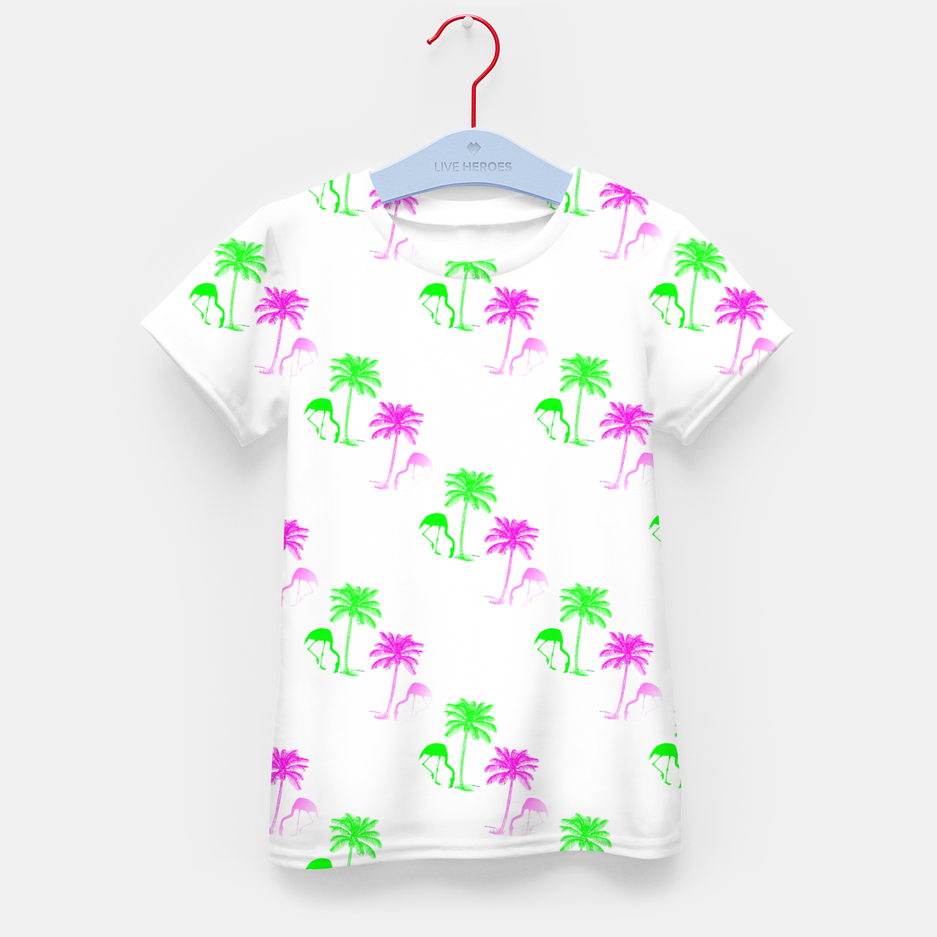 Image of Flamingo Christmas Pattern Palm Trees Kid's t-shirt - Live Heroes