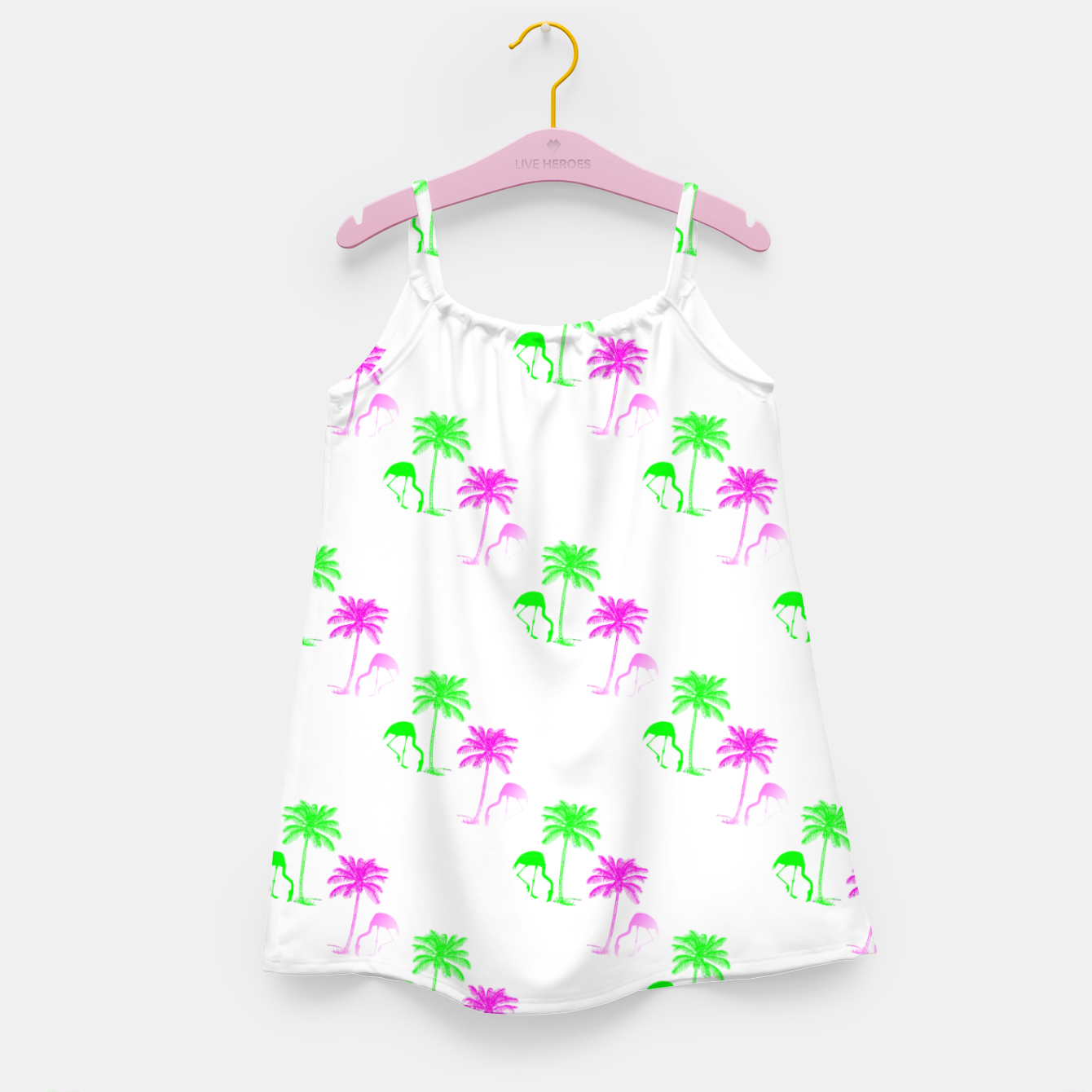 Image of Flamingo Christmas Pattern Palm Trees Girl's dress - Live Heroes