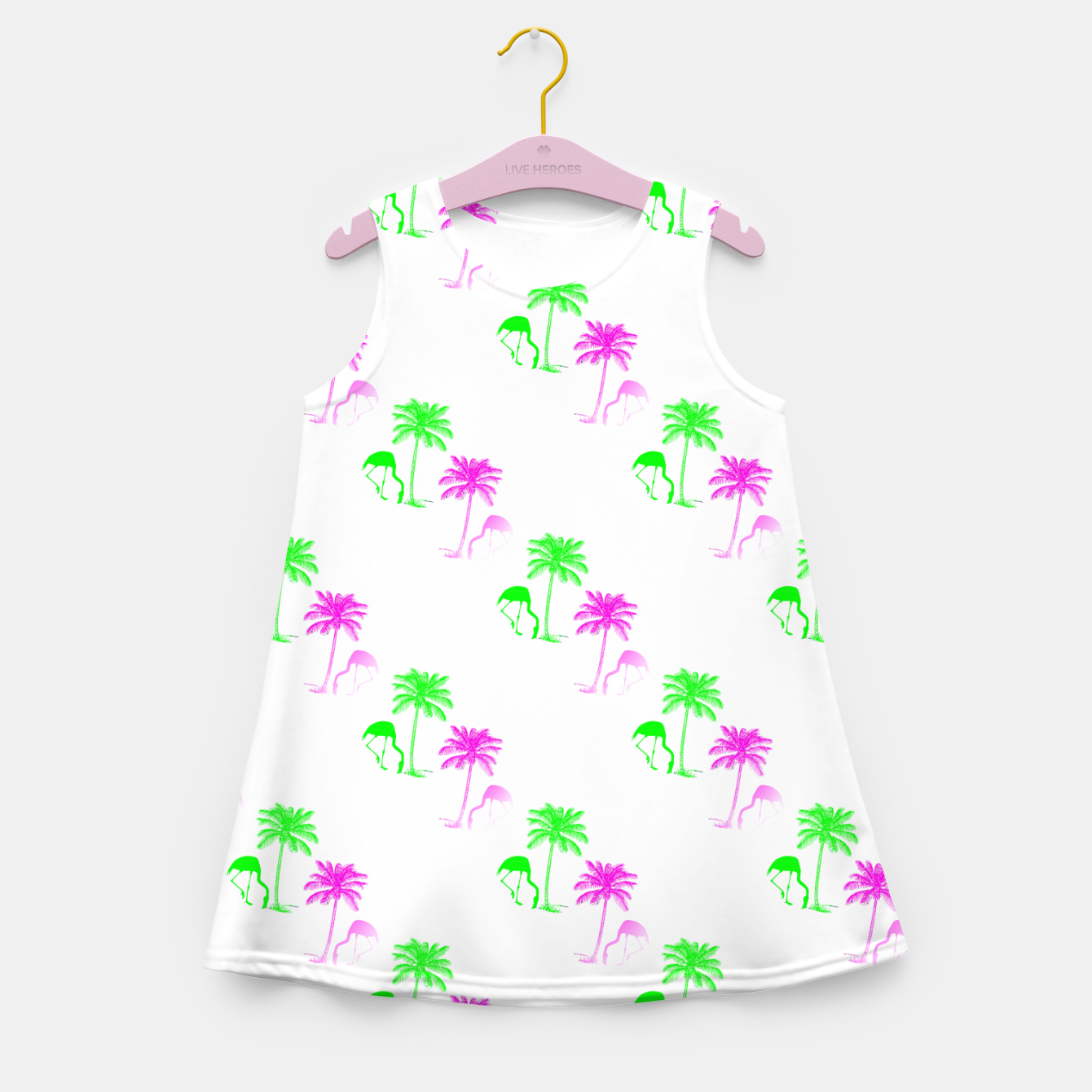 Image of Flamingo Christmas Pattern Palm Trees Girl's summer dress - Live Heroes