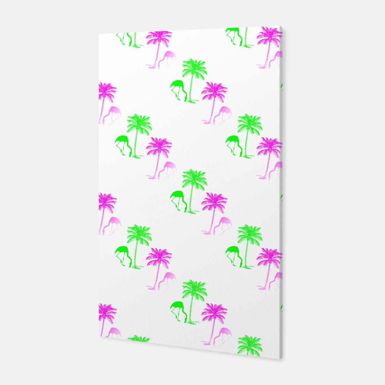 Image of Flamingo Christmas Pattern Palm Trees Canvas - Live Heroes