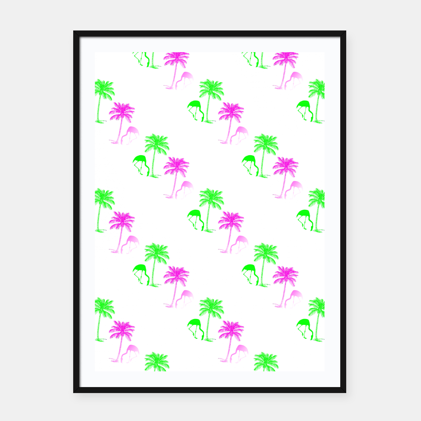Image of Flamingo Christmas Pattern Palm Trees Framed poster - Live Heroes