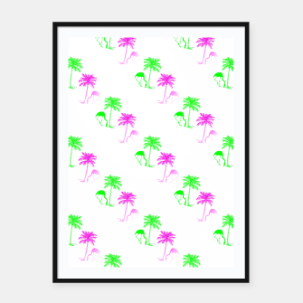 Thumbnail image of Flamingo Christmas Pattern Palm Trees Framed poster, Live Heroes