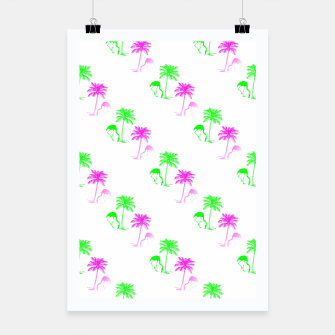 Thumbnail image of Flamingo Christmas Pattern Palm Trees Poster, Live Heroes