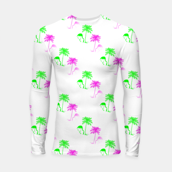 Thumbnail image of Flamingo Christmas Pattern Palm Trees Longsleeve rashguard , Live Heroes