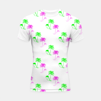 Thumbnail image of Flamingo Christmas Pattern Palm Trees Shortsleeve rashguard, Live Heroes