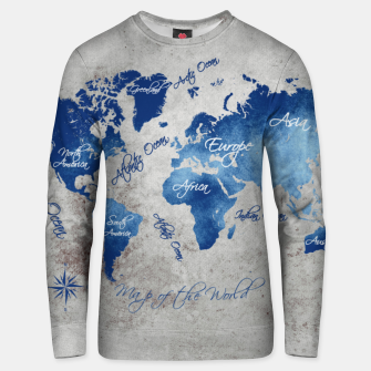 world map blue grey Bluza bawełniana miniature