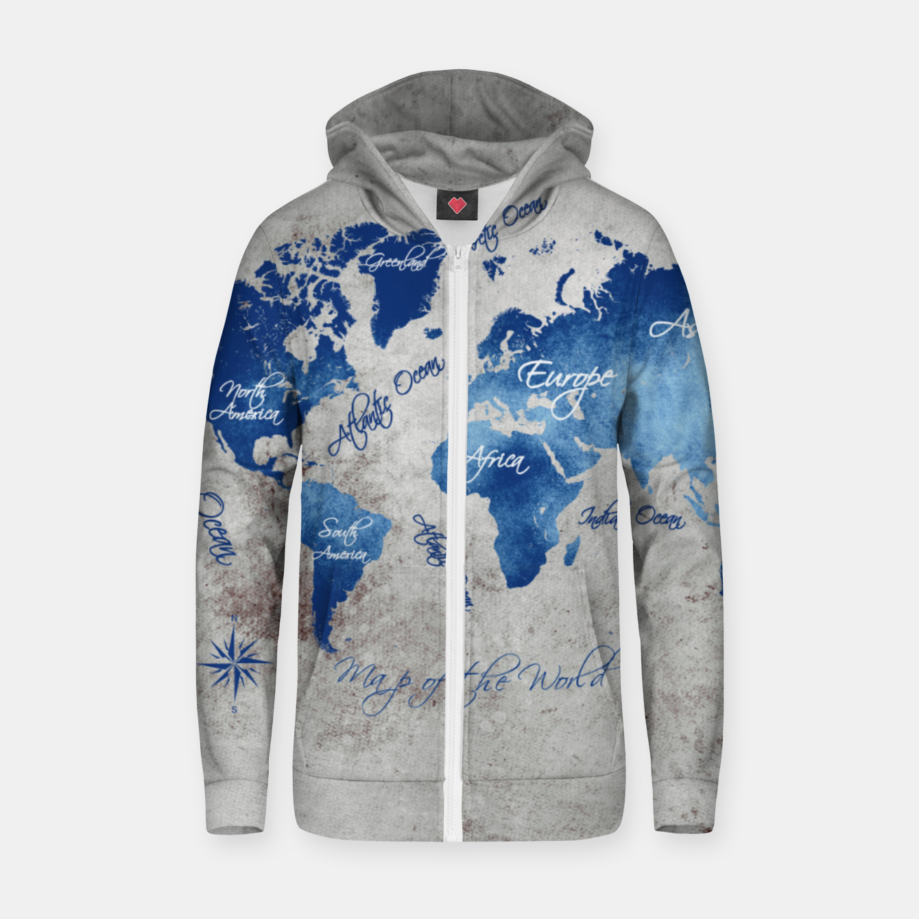 Image de world map blue grey Bawełniana bluza z zamkiem - Live Heroes