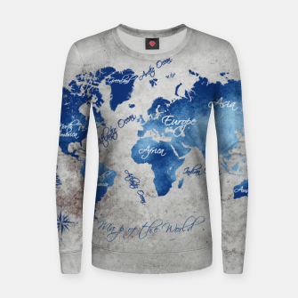 world map blue grey Bluza bawełniana damska miniature