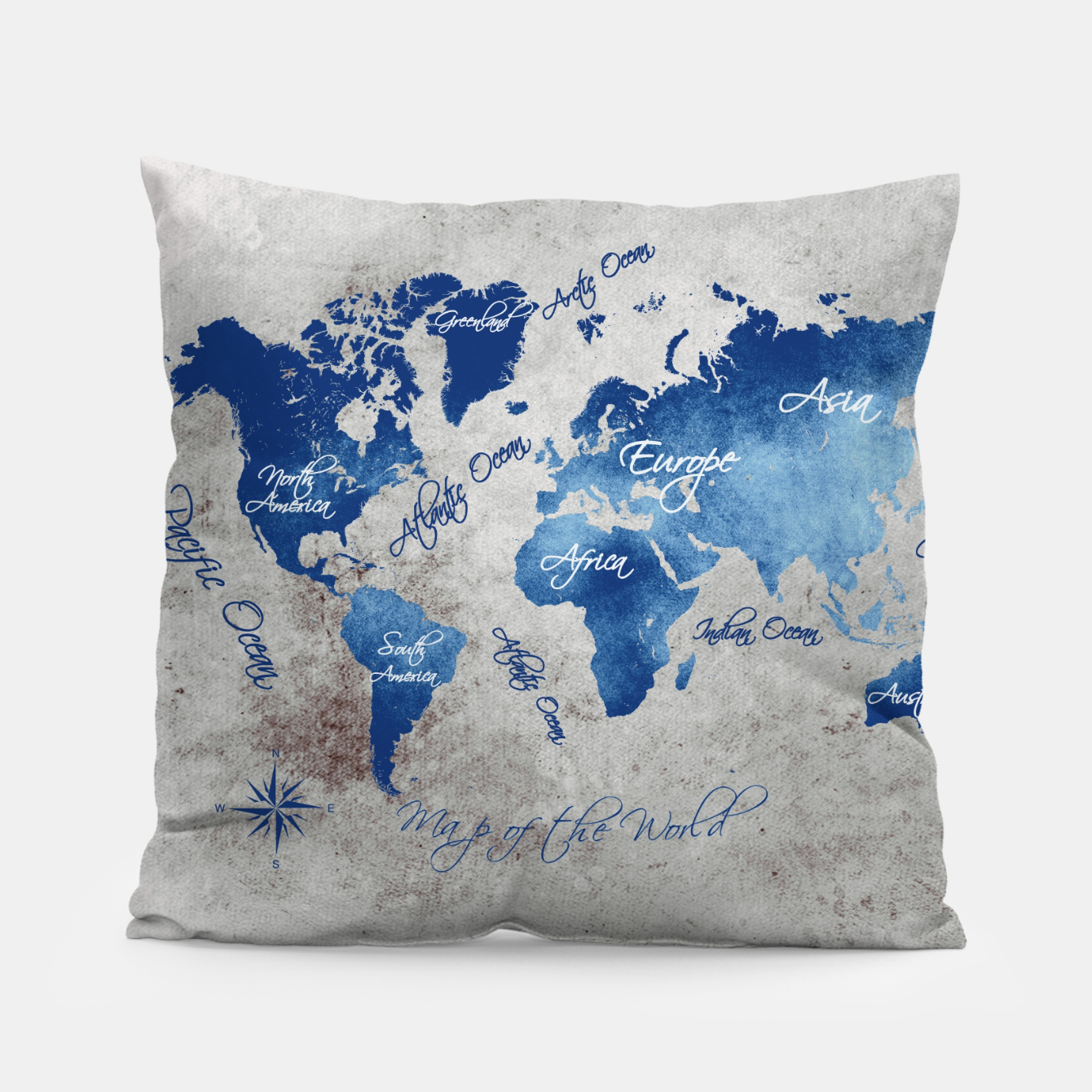 Image of world map blue grey Poduszka - Live Heroes