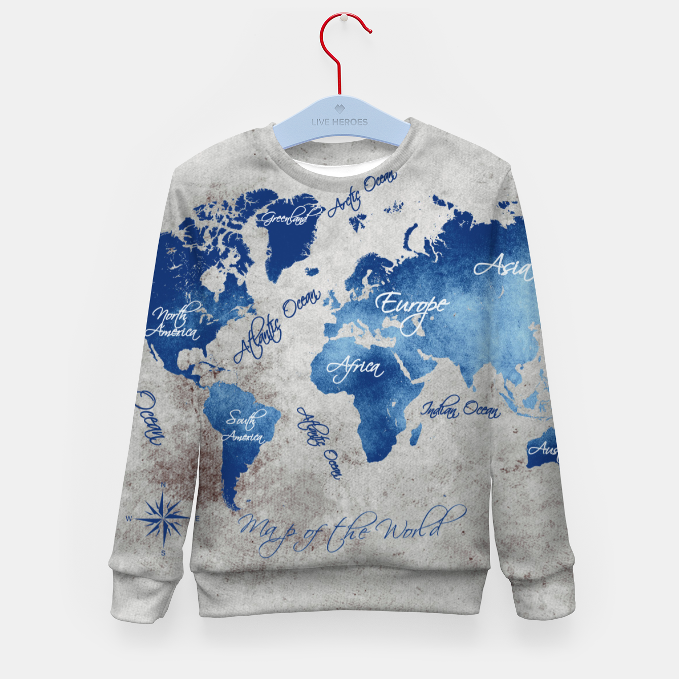 Image of world map blue grey Bluza dziecięca - Live Heroes