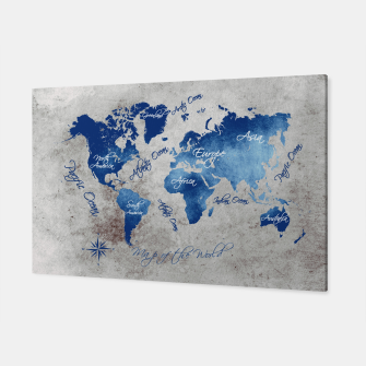 world map blue grey Canvas miniature