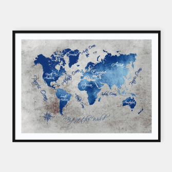 world map blue grey Plakaty w ramie  miniature