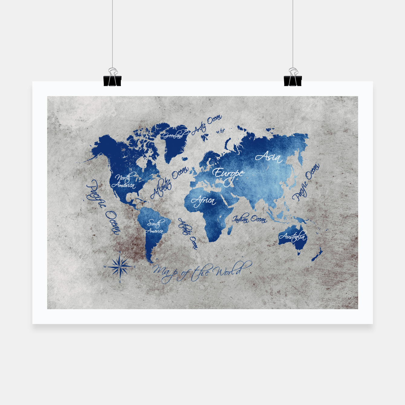 Image of world map blue grey Plakat - Live Heroes