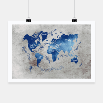 world map blue grey Plakat miniature