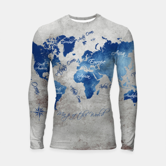 Thumbnail image of world map blue grey Rashguard długi rękaw, Live Heroes