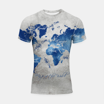 world map blue grey Rashguard krótki rękaw miniature