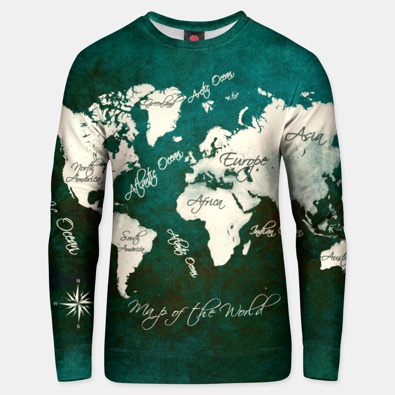 Image of world map green  Bluza bawełniana - Live Heroes