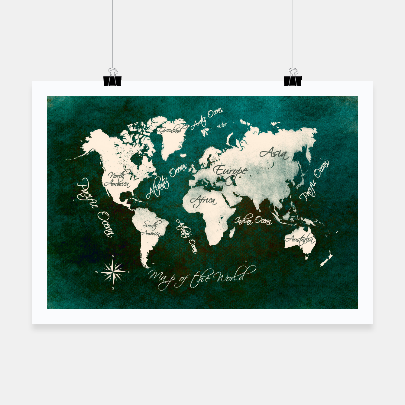 Image of world map green  Plakat - Live Heroes