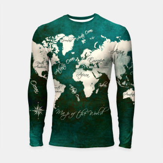 Thumbnail image of world map green  Rashguard długi rękaw, Live Heroes