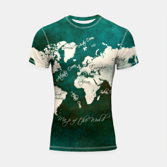 Thumbnail image of world map green  Rashguard krótki rękaw, Live Heroes