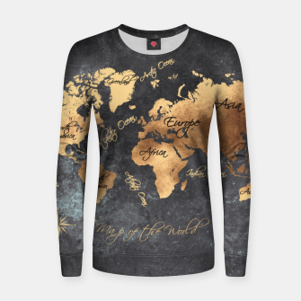 world map gold black #worldmap #map Bluza bawełniana damska obraz miniatury