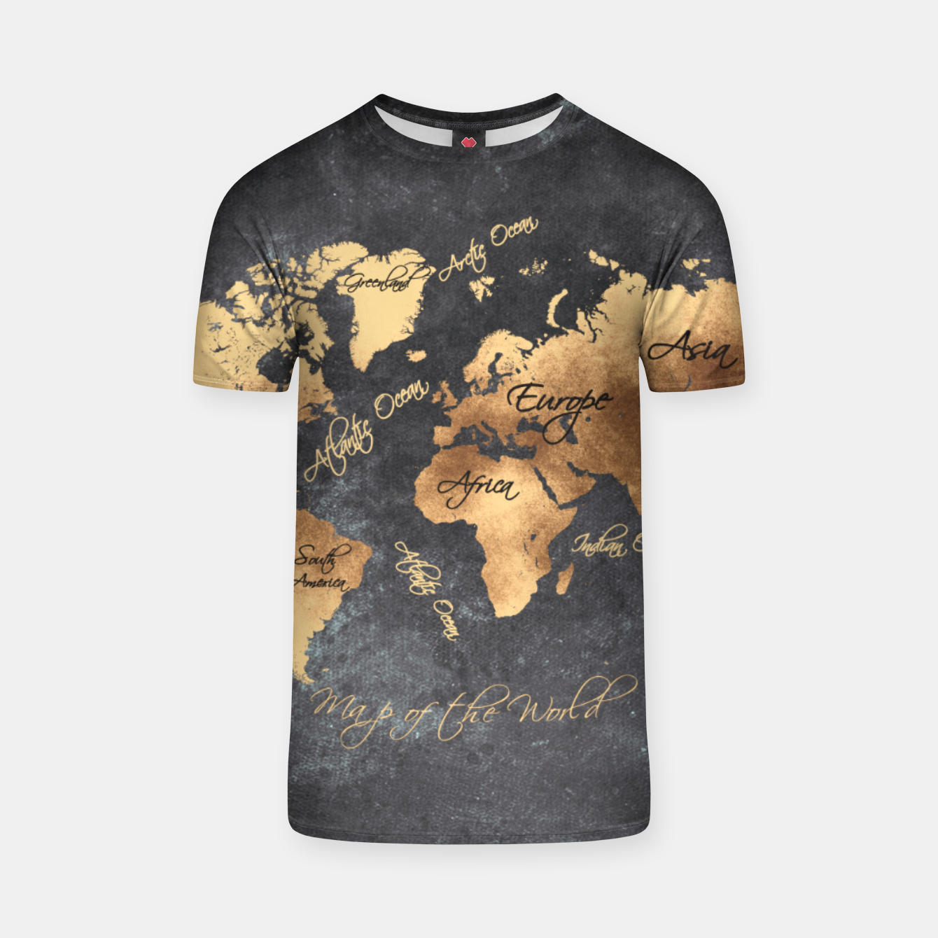 Image of world map gold black #worldmap #map Koszulka - Live Heroes